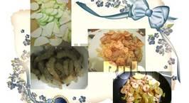 Hình ảnh món 2 trong 1 từ Tôm: Tôm xào bí ngòi -Nui xào tôm thịt