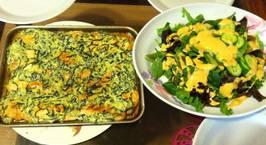Hình ảnh món Cá hồi nướng phủ mayonaire và rau cải chân vịt