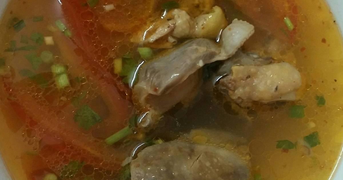 Lòng gà nấu canh thơm cà