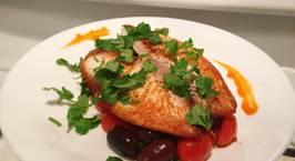 Hình ảnh món Phile cá tráp vs salad cà chua, olive ngày tuyết rơi nhiều thật nhiều ❄️❄️