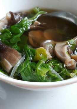 Canh cải nấm rơm chay