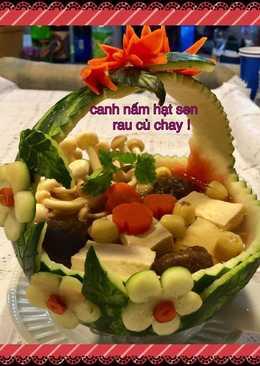 Canh nấm hạt sen rau củ chay !