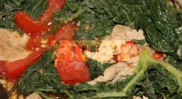 Hình ảnh món Lá bí xanh hay đỏ xào cà chua, thịt