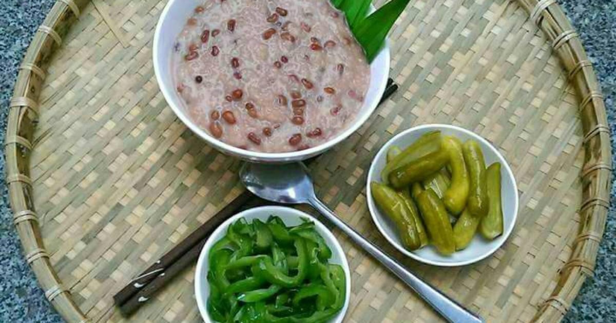 Cháo Đậu Đỏ Nước Cốt Dừa Ăn Kèm Dưa Muối