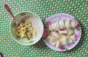 Cháo yến mạch khoai lang,hoa quả cho buổi sáng cho Gymer
