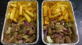 Hình ảnh món Đà điểu lúc lắc khoai tây chiên. Bữa sáng thứ 3