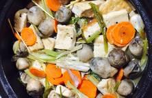 Đậu hủ, nấm rơm, cà rốt kho tộ