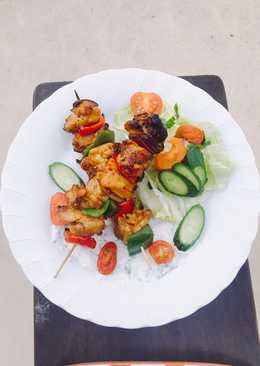 Chicken Kebab (Gà xiên nướng than)+ Yoghurt Sauce