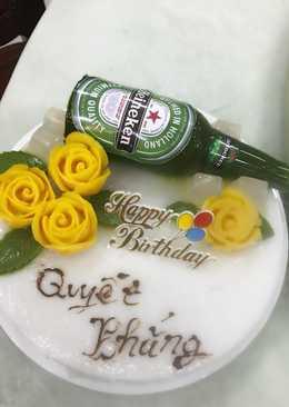 Bánh rau câu chai bia hoa nổi 4D