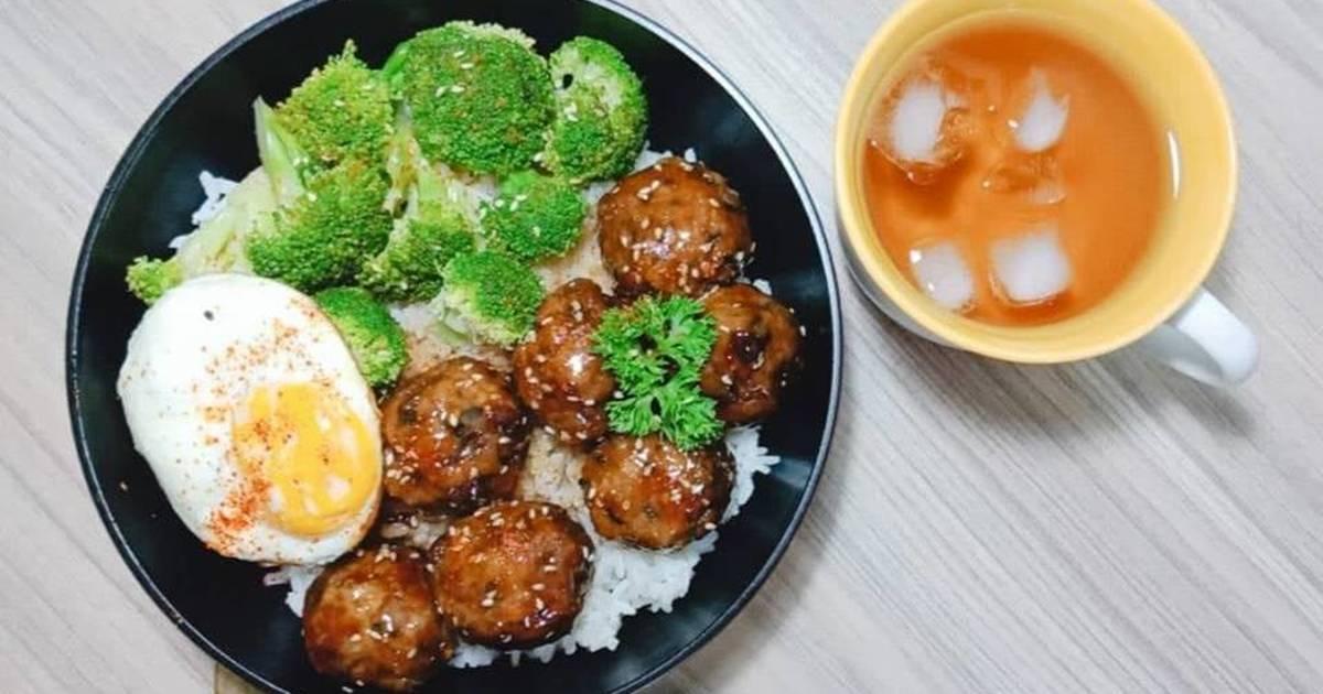 Bò băm viên sốt teriyaki