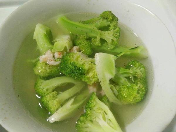 Bông cải nấu canh tôm