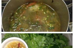 Canh dưa chua cá diêu hồng - ăn kèm rau sống