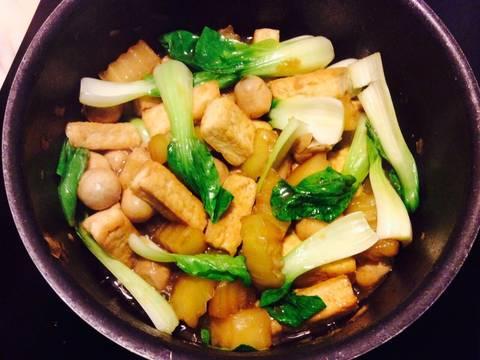 Nấm xào cải thìa với đậu phụ recipe step 9 photo