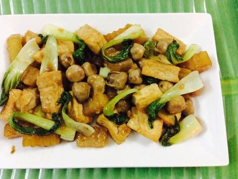 Nấm xào cải thìa với đậu phụ recipe step 10 photo