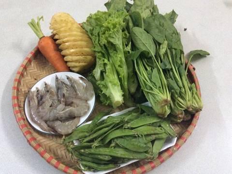 Salat cải bó xôi và tôm recipe step 1 photo