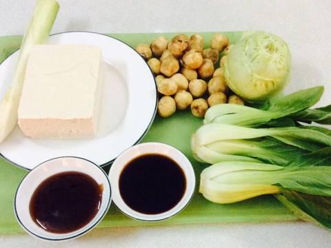 Nấm xào cải thìa với đậu phụ recipe step 1 photo