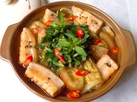 Canh cải chua nấu với lườn cá hồi recipe step 5 photo