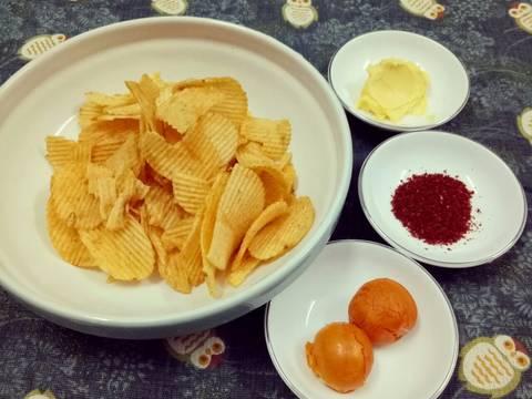 Snack khoai tây sốt trứng muối recipe step 1 photo