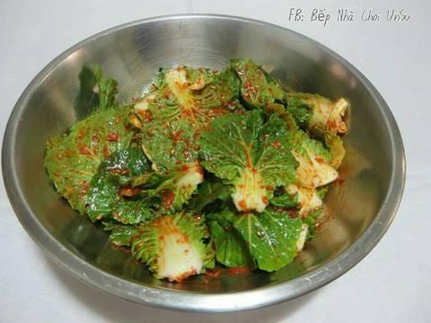 Kim Chi cải bẹ xanh muối xổi 봄동겉절이 recipe step 3 photo