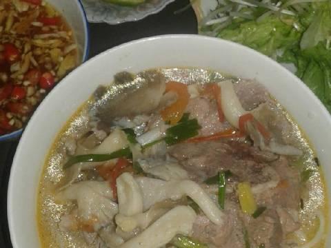 Bún hầm xương nấm bào ngư (bún miền Trung) recipe step 8 photo