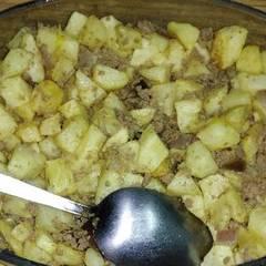 صورة لوصفة مفركة البطاطا باللحمة