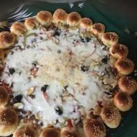 بيتزا باللحمه والخضار