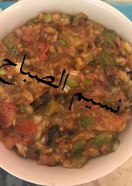 # اطباق رمضانيه باذنجان بالبصل الاخضر