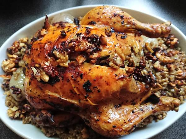 دجاج 🍗 محشي بالفريكة ☺😋