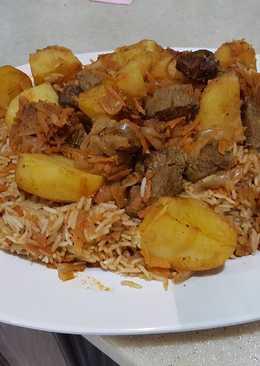 الرز البخاري السريع لحم او دجاج