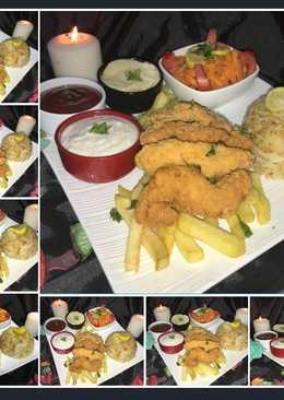 دجاج وبطاطس مقلي مع الارز