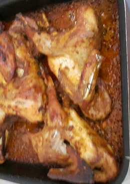 دجاج مشوي بلفرن مع توميه وسلطه البطاطا