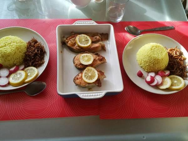 سمك التونا مع الرز