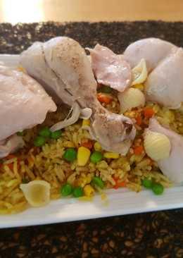 #اكلات_باللحم رز بالكاري والكركم والخضار مع الدجاج