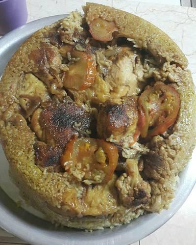 مقلوبة الدجاج بالزهرة والباذنجان