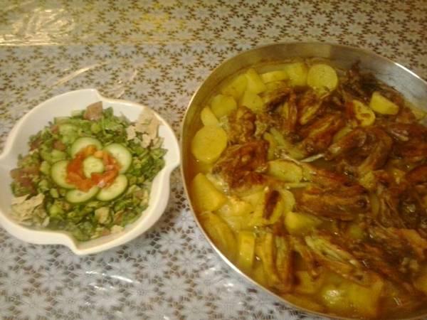 طريقة عمل طاجن الفروج والبطاطا