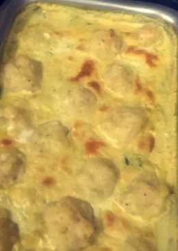 كرات البطاطس مع الدجاج والكريمه