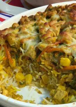 ارز بالدجاج والخضار في الفرن