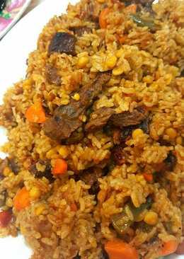 ارز بالحمص و الجزر ولحم رأس العصفور