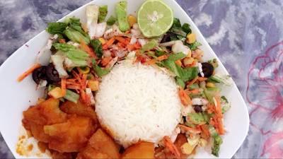 أرز ومنشفه