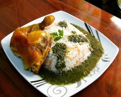 ملوخية ورز مع الدجاج المحمر