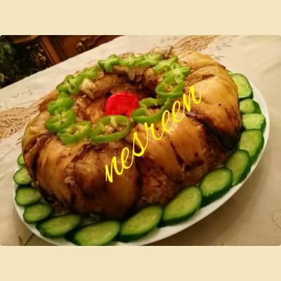 #اكلات_للعروس مقلوبه باذنجان بالدجاج