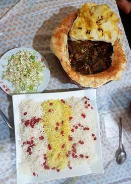 فطيرة اللحم التركية بالفخار والارز بالزعفران والرمان