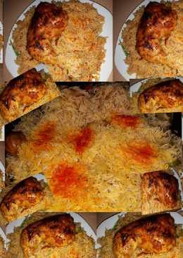 رز بسمتي مع التوابل الشهية والدجاج المحمر