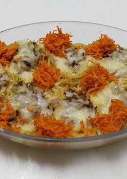 أعشاش الشعيرية باللحم و الجبن