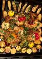 دجاج بالفرن بالخضروات