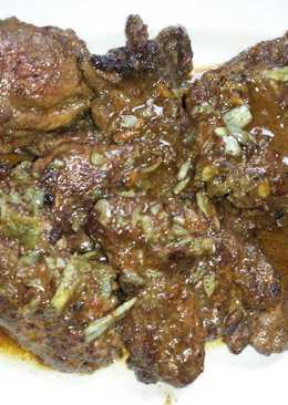 شرحات لحم الغزال مطفاية بالحامض والتوم 😋😋