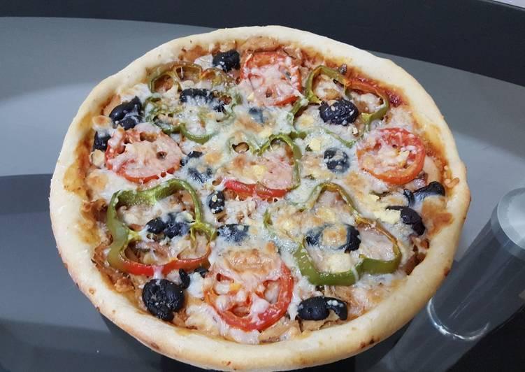 بيتزا بعجينة السبع دقايق 🍕🍕
