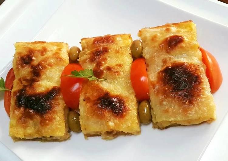 عجينة الفيلو الرقيقة باللحم المفروم والجبن