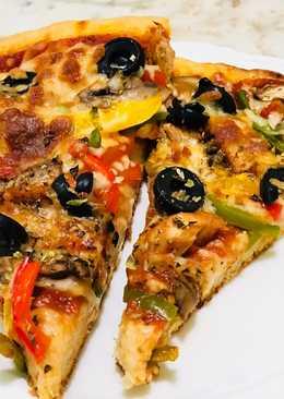 البيتزا الدجاج مع الفلفل البارد وزيتون وفطر 🍕🍕🍕😋