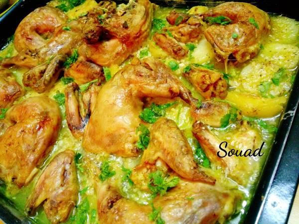 صينية دجاج بالثوم والحامض